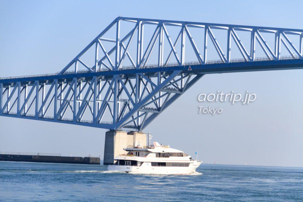 東京ゲートブリッジの下を通るジェット船