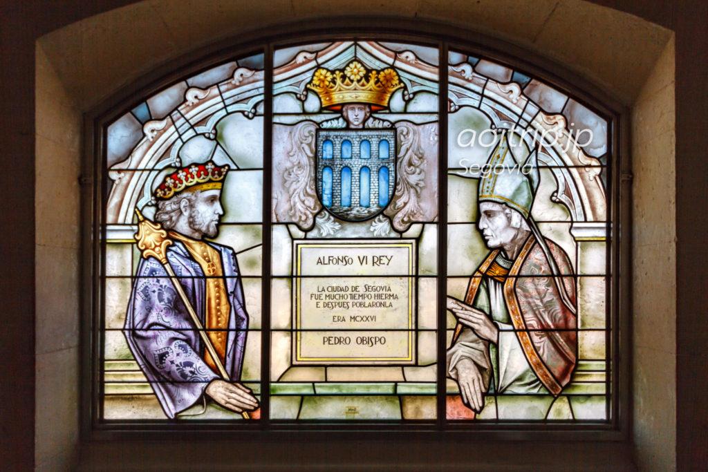 アルフォンソ6世とセゴビア司教のステンドグラス