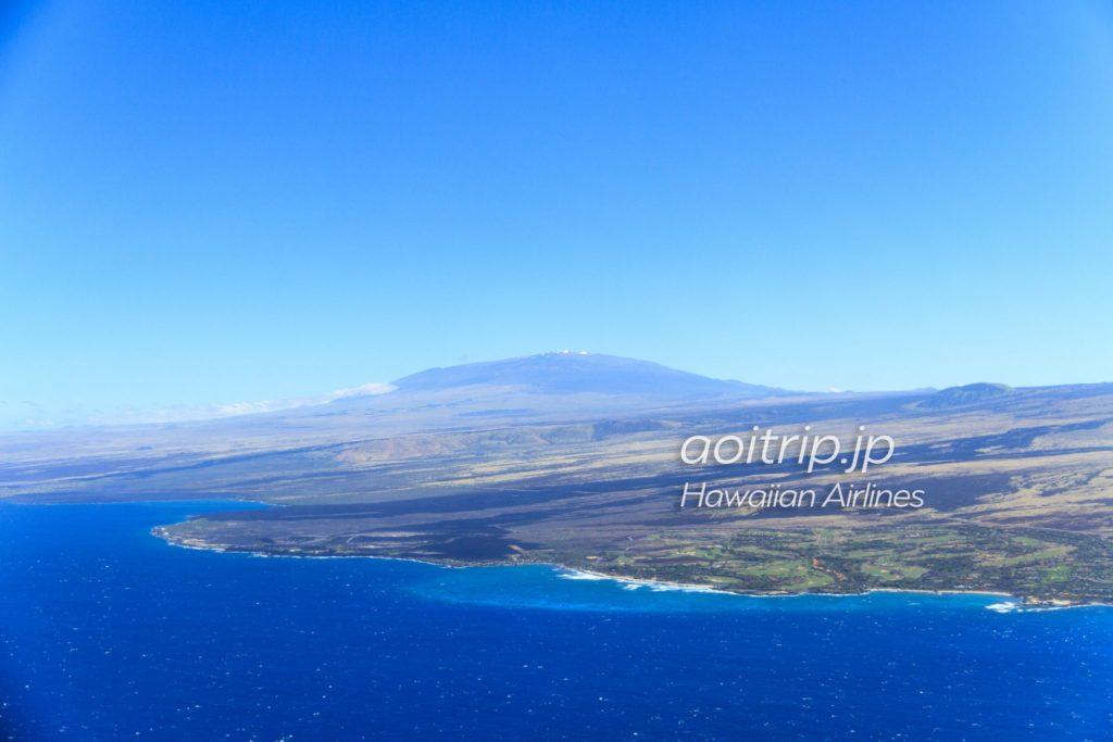 ハワイアン航空から見えるマウナケア山