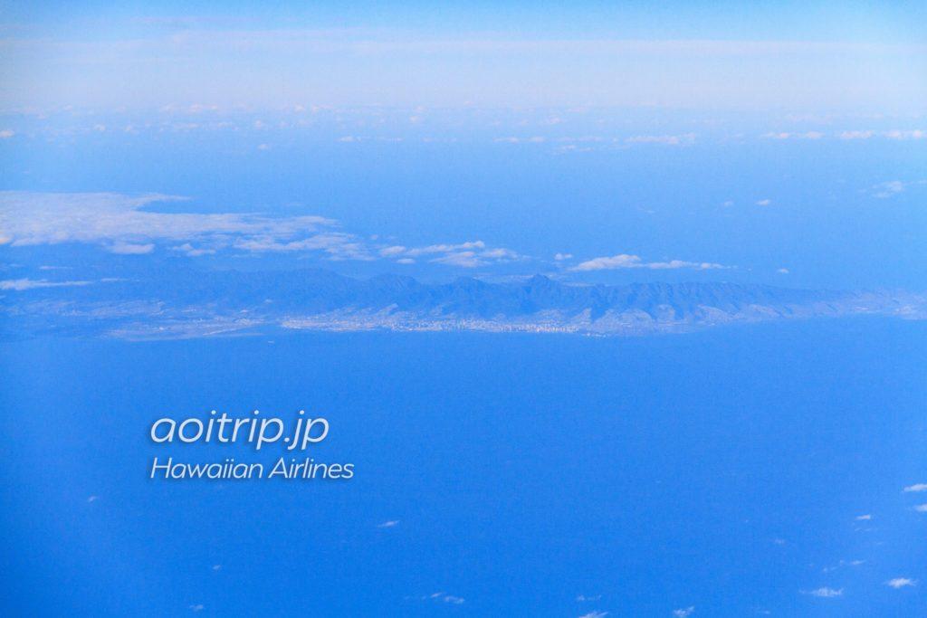空から見えるオアフ島