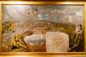 Vista y plano de Toledo トレドの景観と地図