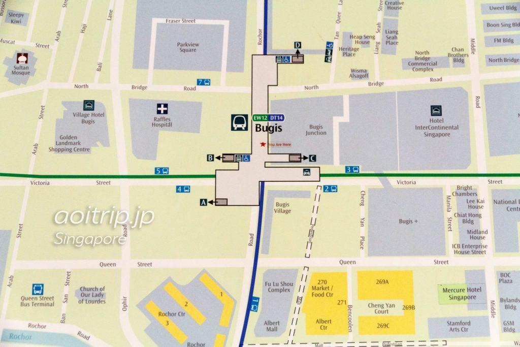 ブギス駅周辺地図