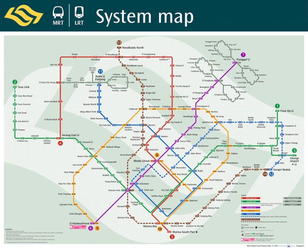 シンガポール MRT 路線図