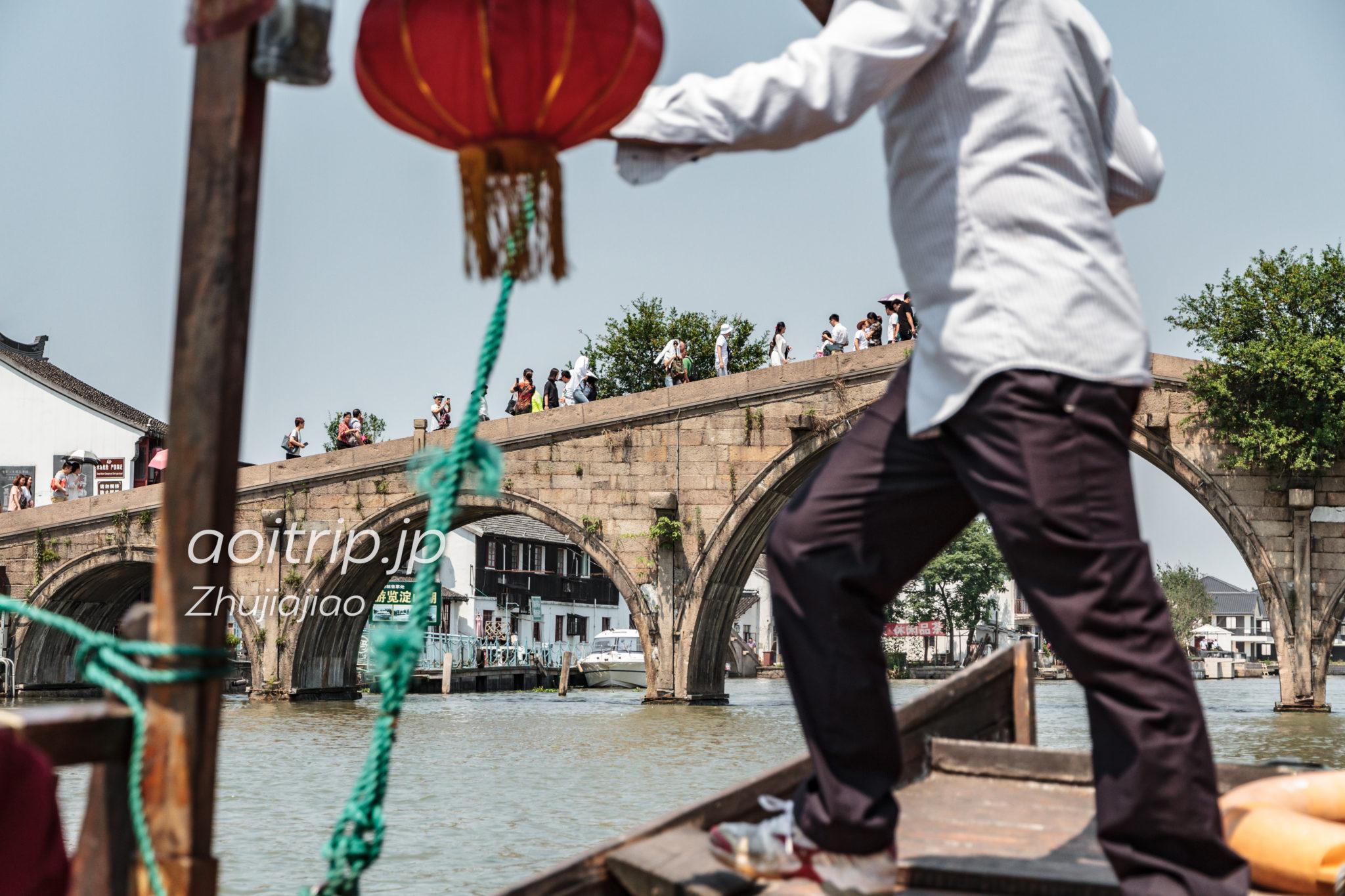 朱家角 遊覧船からの放生橋の眺め