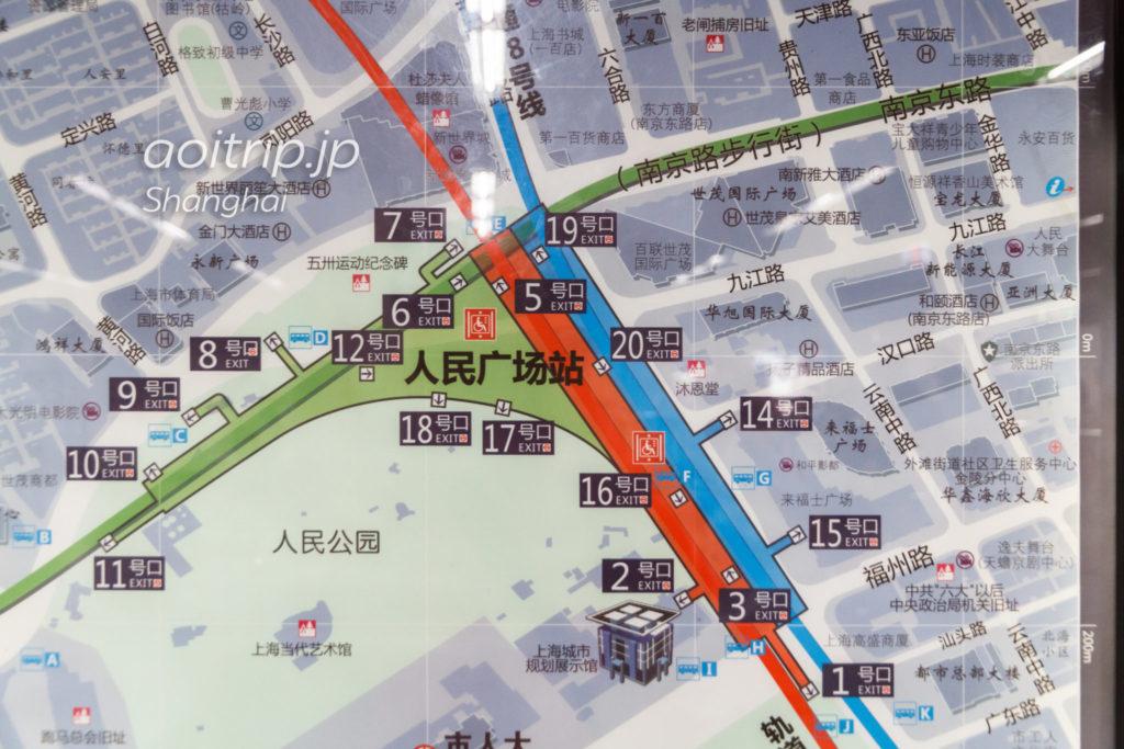人民広場駅周辺の出口マップ