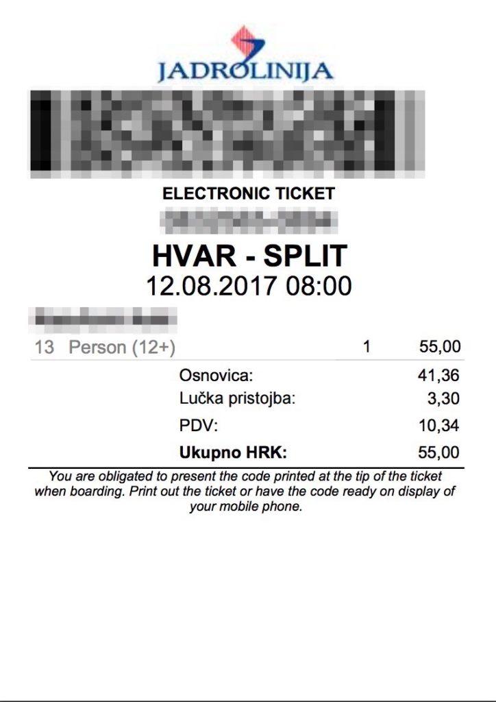 ヤドロリニヤのチケット