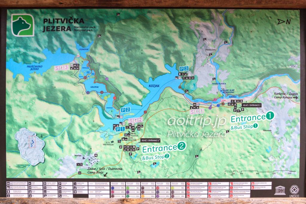 プリトヴィツェ湖群国立公園の地図
