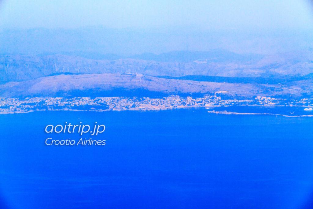 クロアチア航空OU662便から見たドゥブロヴニク旧市街