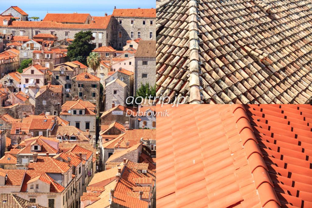ドゥブロヴニクのテラコッタの屋根瓦