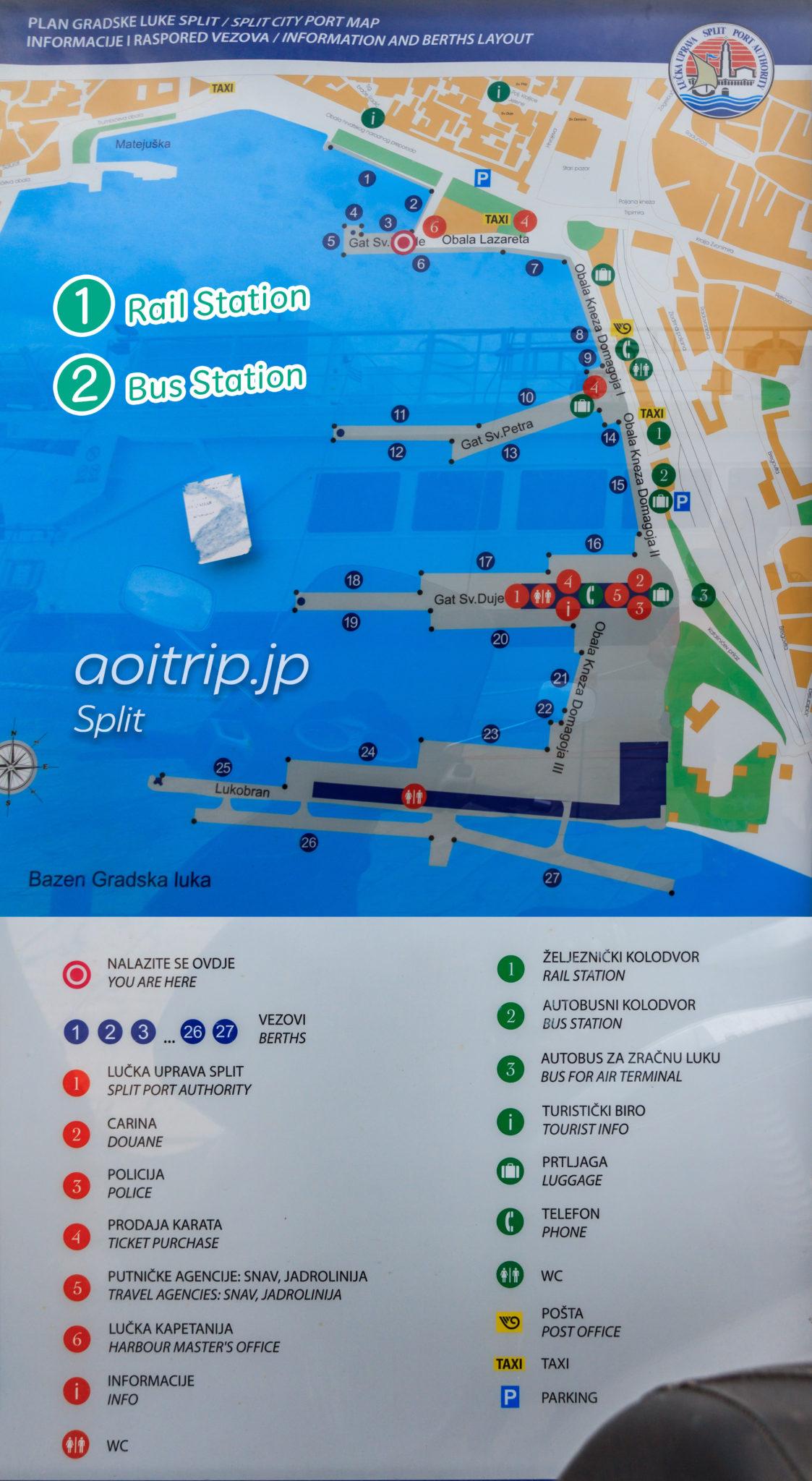 スプリット中心部のマップ