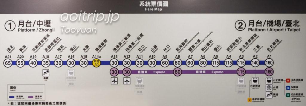 MRT桃園機場捷運の路線図