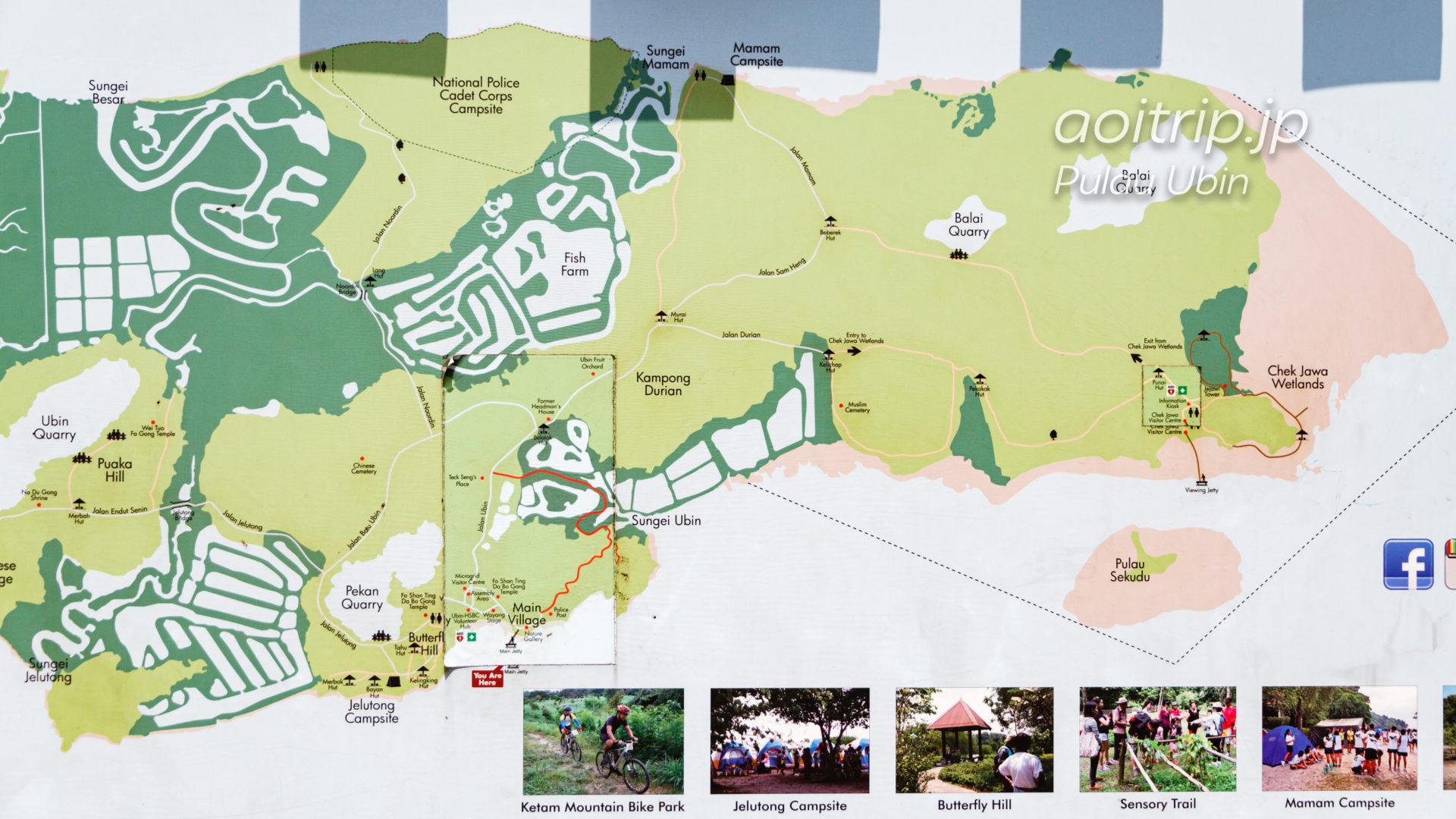 ウビン島のマップ