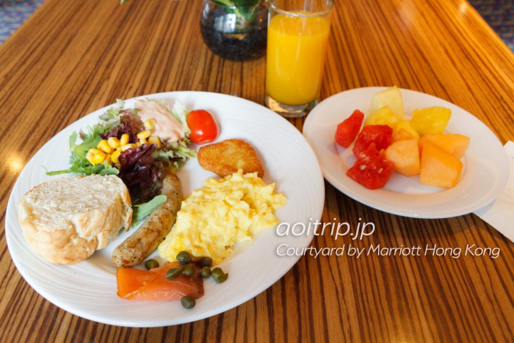 コートヤードバイマリオット香港のクラブラウンジの朝食