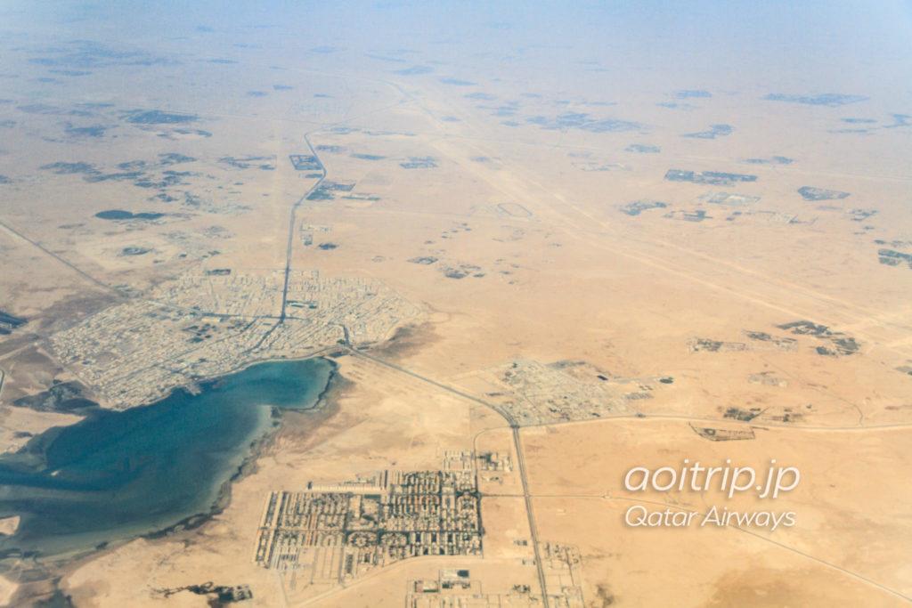 カタール航空機内から見るカタールの景色
