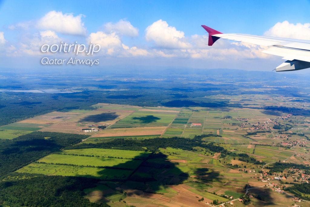カタール航空機内から見るクロアチア