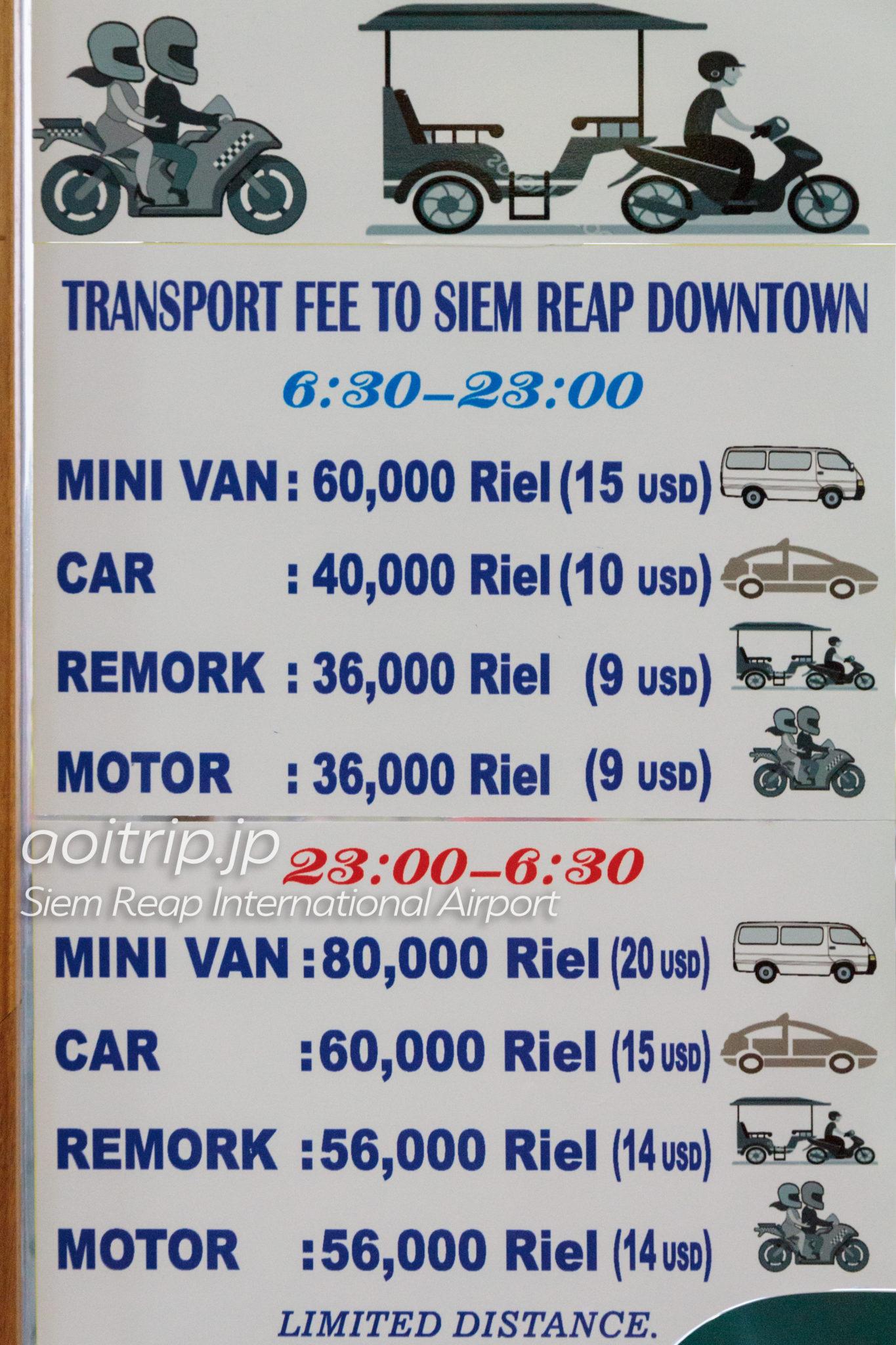 シェムリアップ国際空港から市内のアクセス 料金一覧表