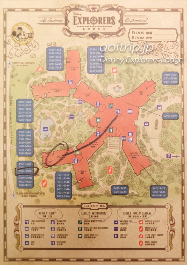 ディズニーエクスプローラーズロッジのホテル敷地全体マップ