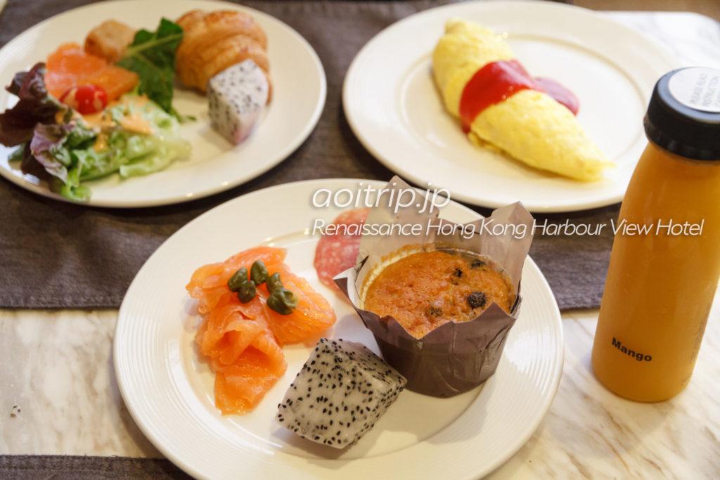 ルネッサンス香港ハーバービューホテルのクラブラウンジの朝食