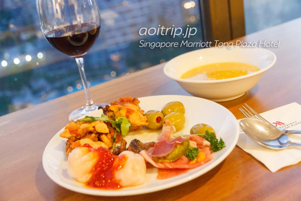 シンガポール マリオット タング プラザ ホテルのクラブラウンジ夕食