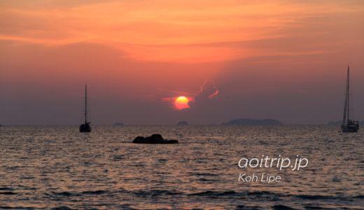 リペ島のサンセットビーチから望む夕日