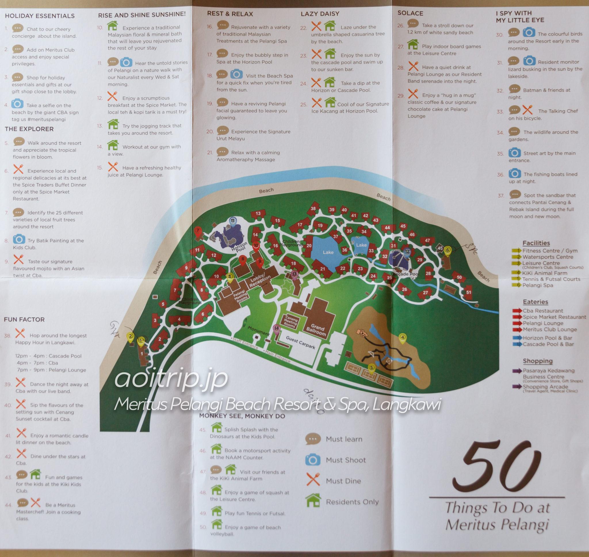 メリタスペランギリゾートランカウイのリゾートマップ