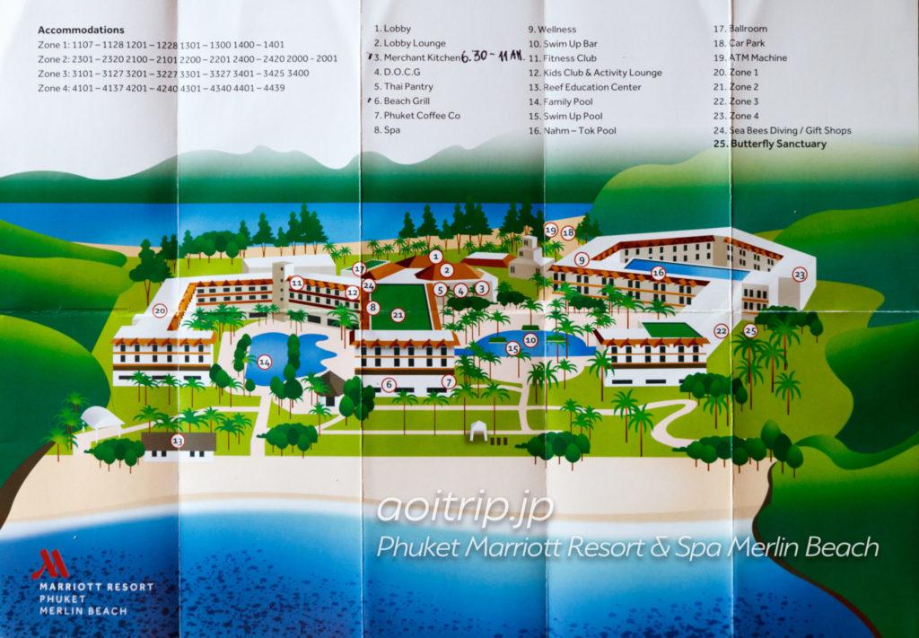 プーケット マリオット リゾート & スパ メルリン ビーチの敷地内マップ