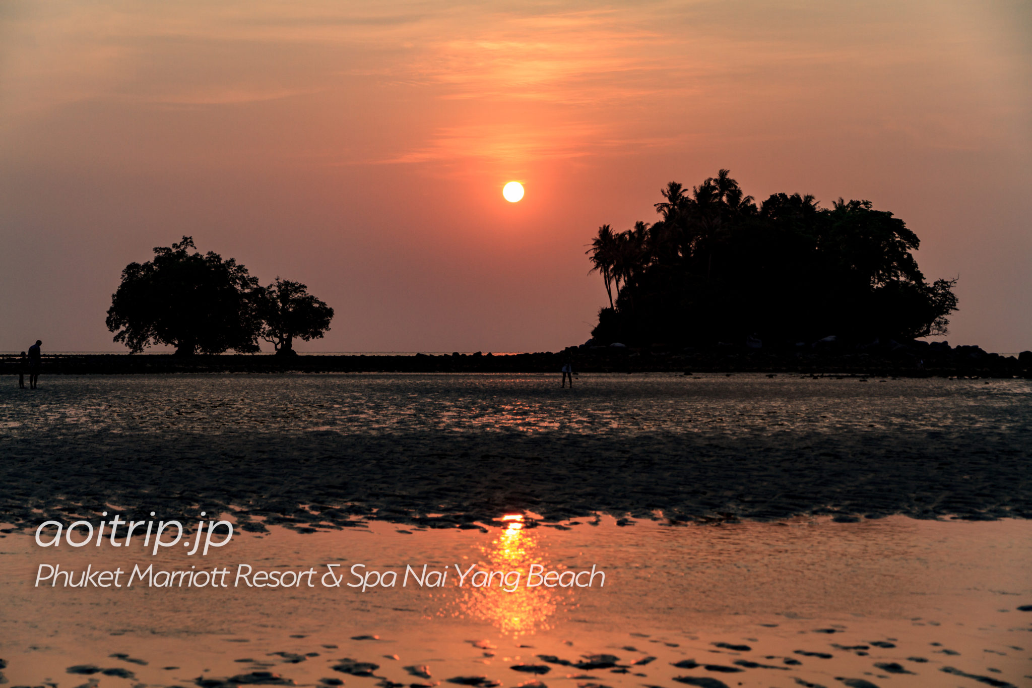 プーケット マリオット リゾート & スパ ナイヤン ビーチから見た夕日
