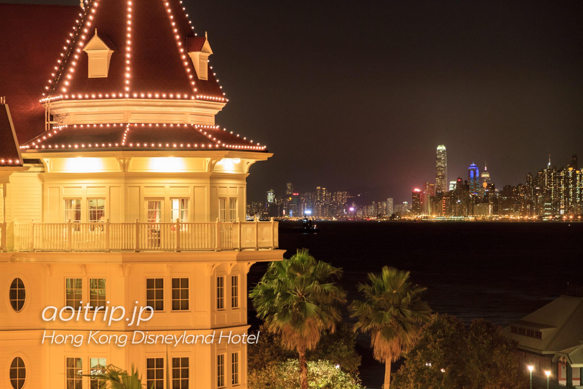 香港ディズニーランドホテルのキングダムスイートルームと香港島の夜景
