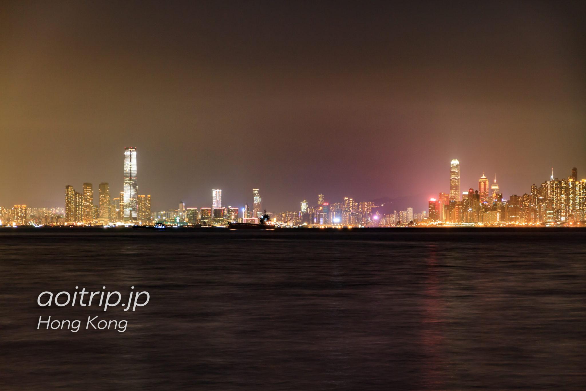香港ディズニーランドフェリーピアから見る香港の夜景