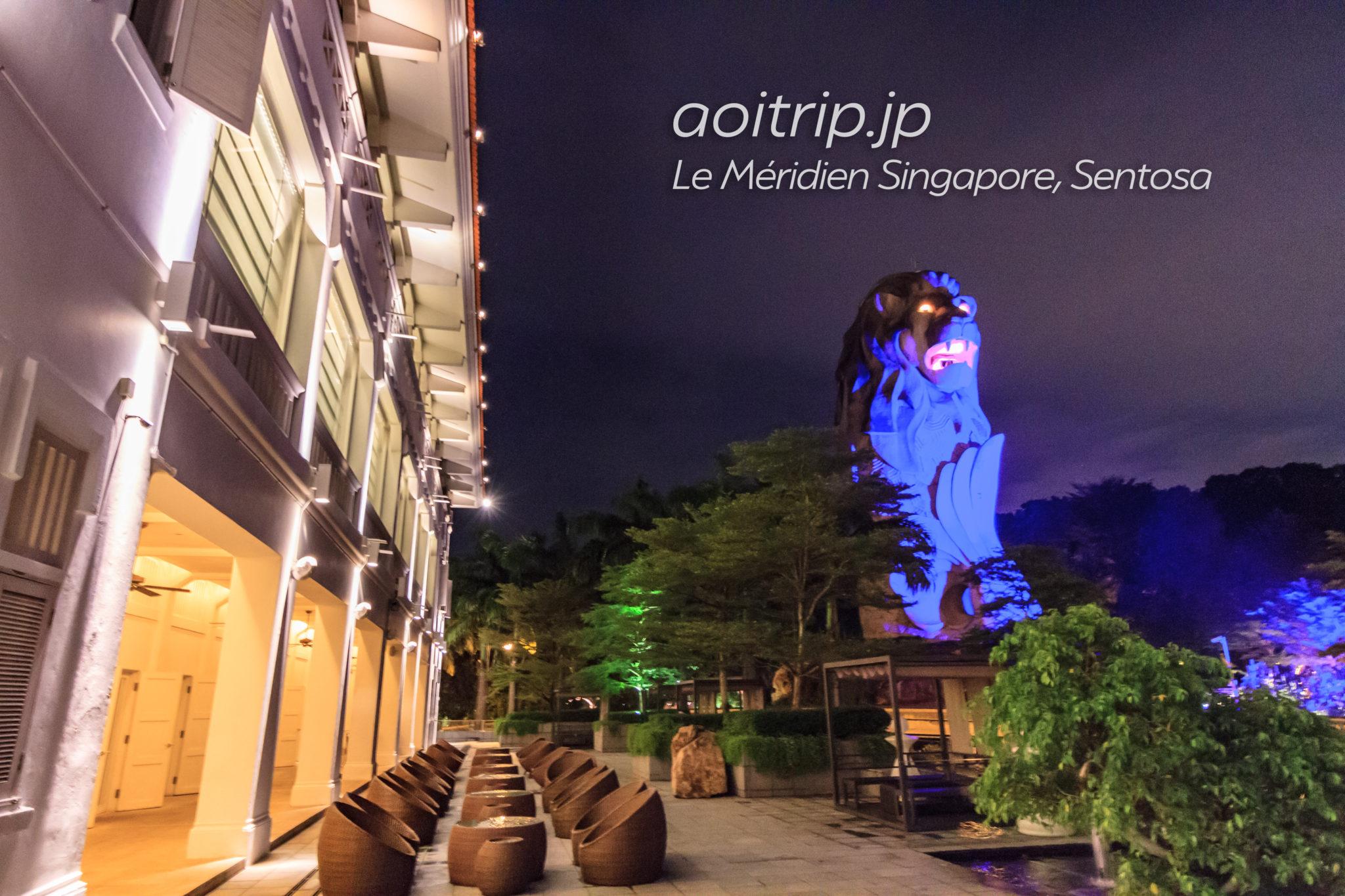 ル メリディアン シンガポール セントーサとマーライオンタワーの夜景