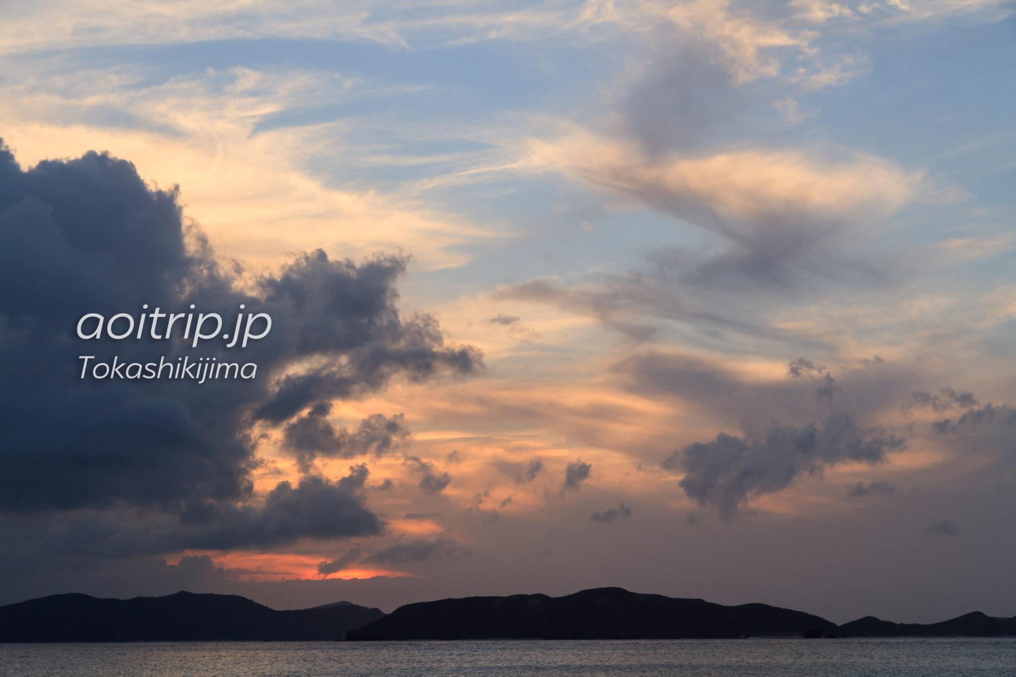 とかしくビーチの夕焼け空