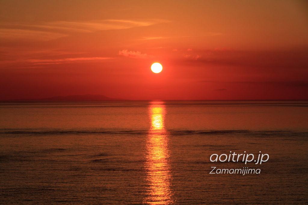 ウナジノサチ展望台から望む夕日