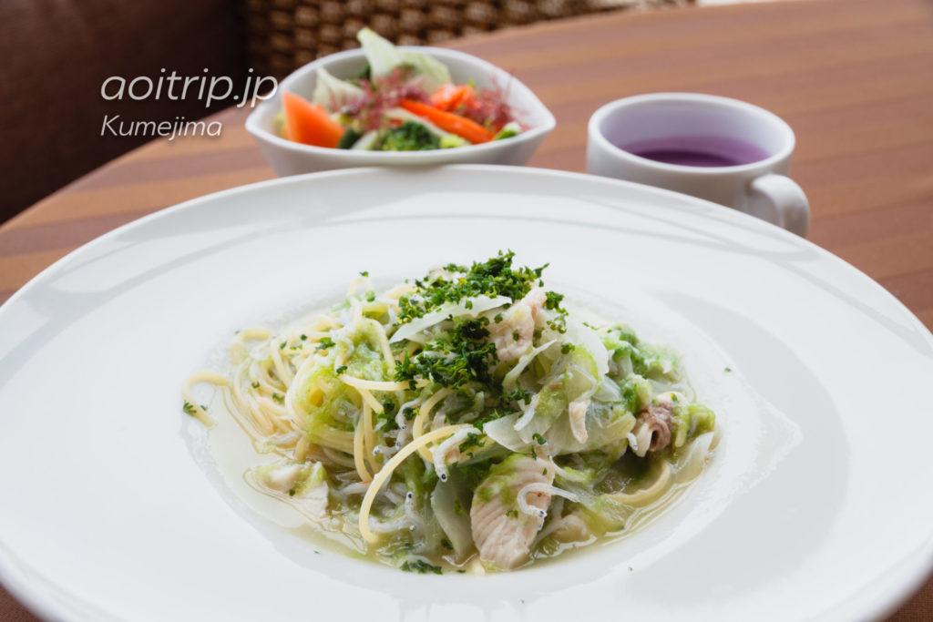 サイプレスリゾート久米島 しらすと久米島産アオサ海苔のスパゲッティ