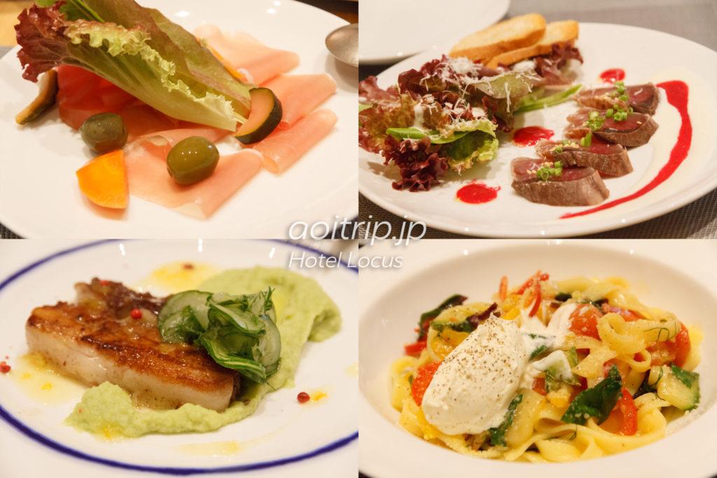 ホテルローカスのレストランの夕食