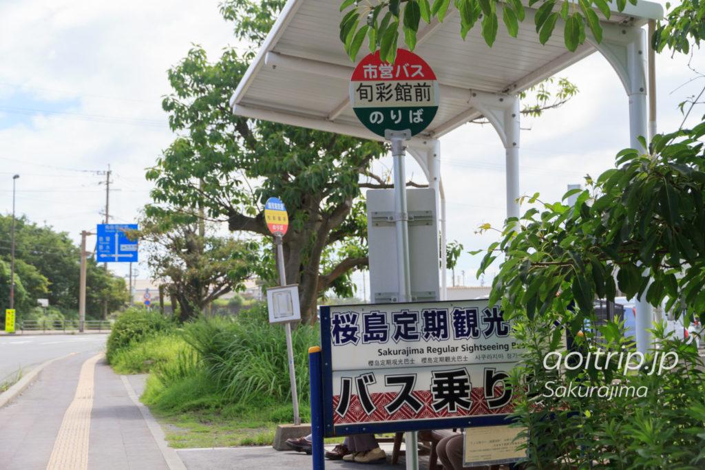 桜島港の桜島自然遊覧コースバス乗り場