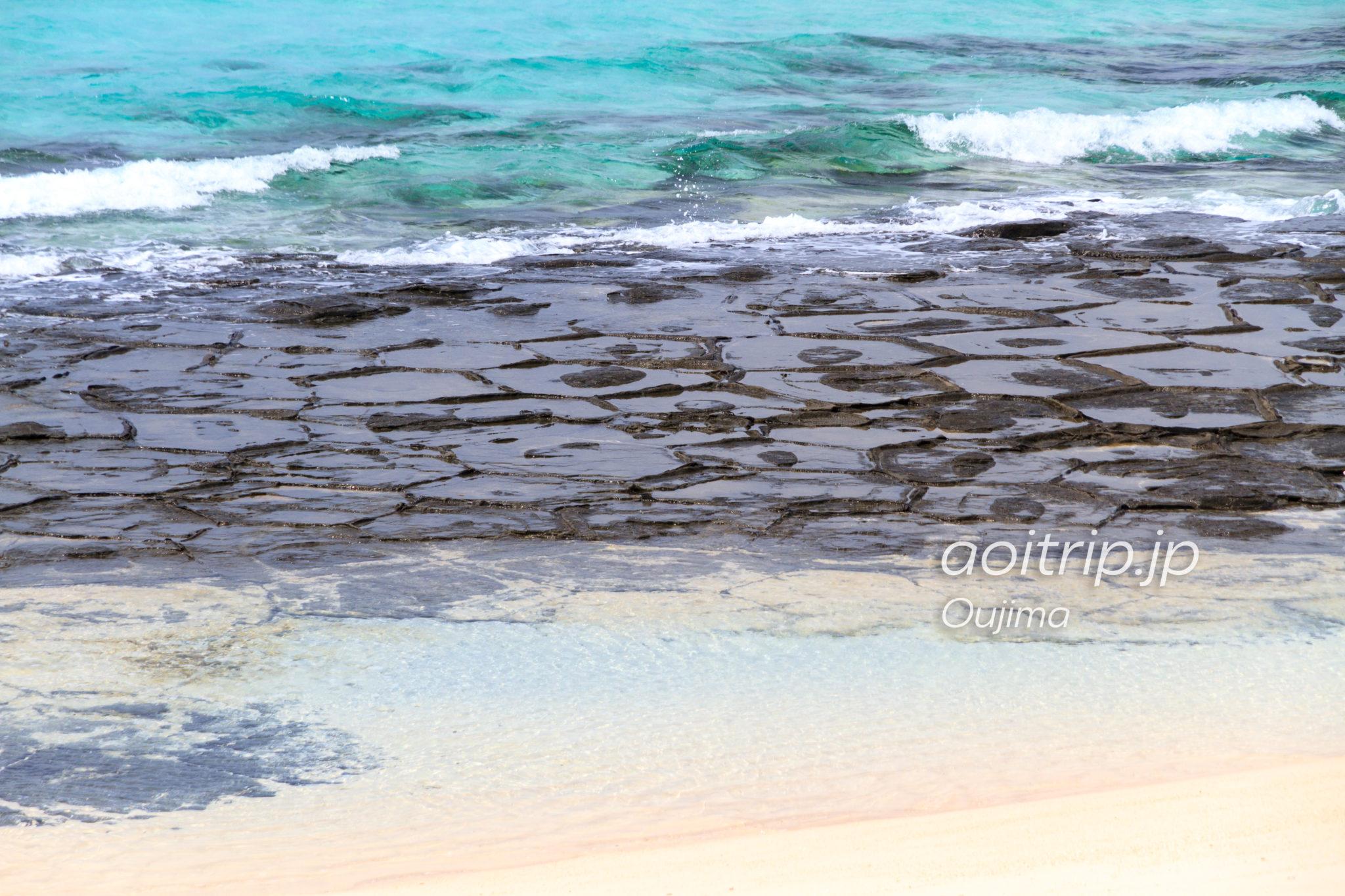 奥武島の畳石 まるで亀の甲羅? ...