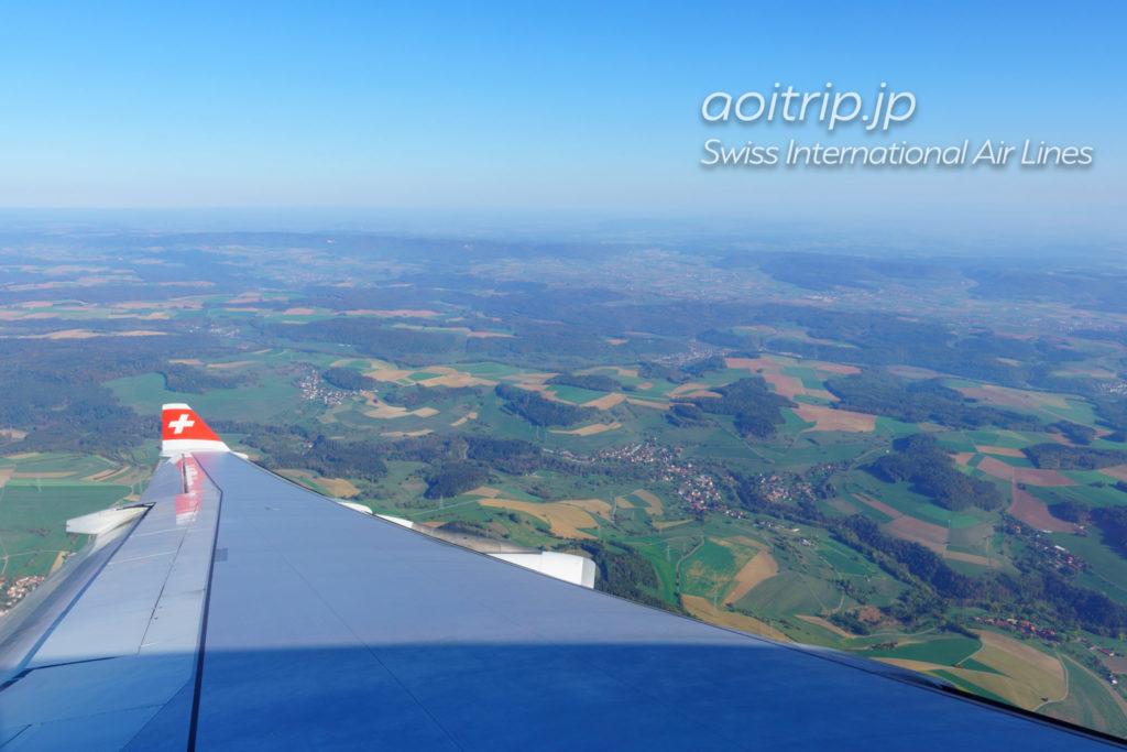 スイス航空 チューリッヒ上空