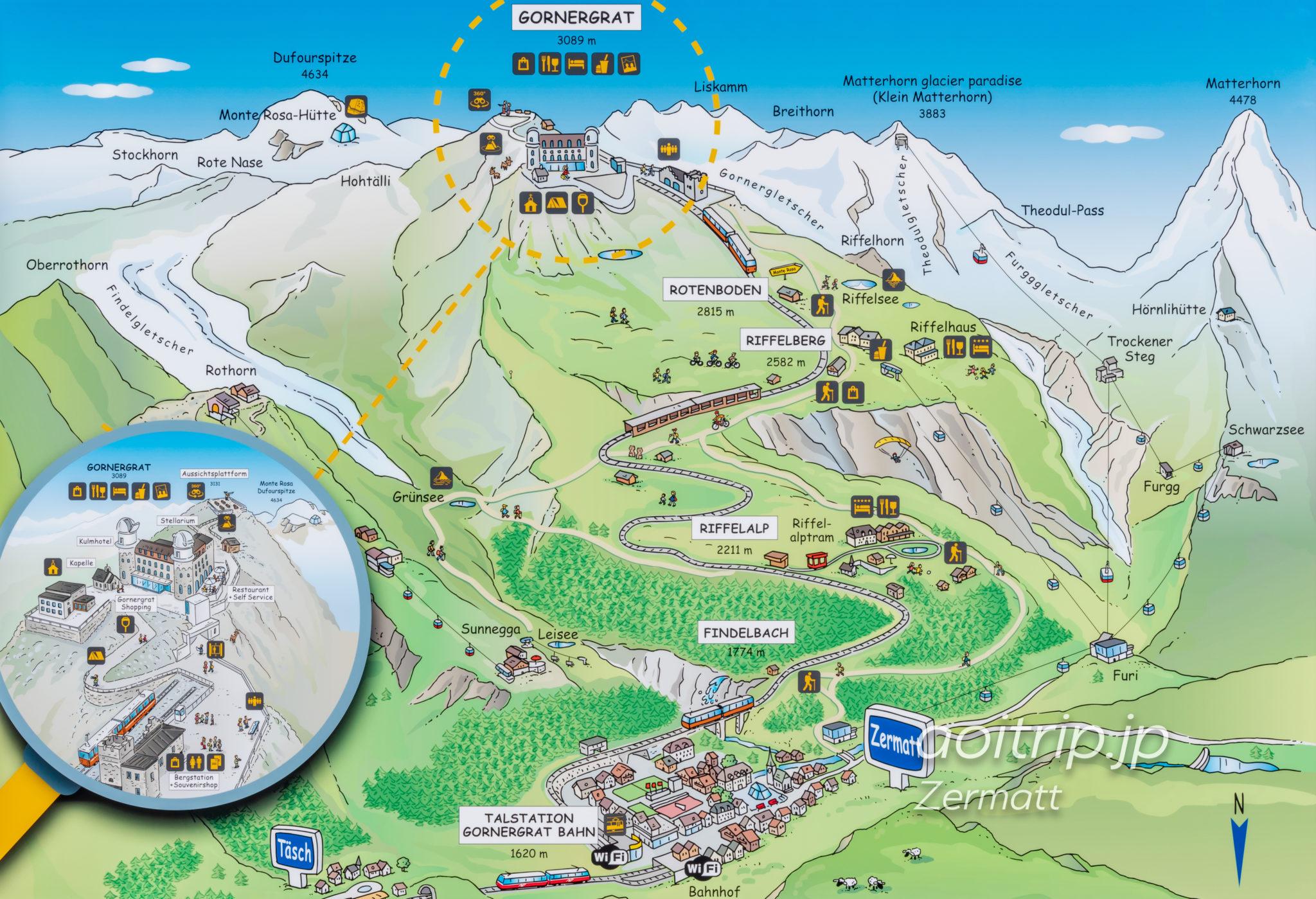 ゴルナーグラート鉄道のマップ