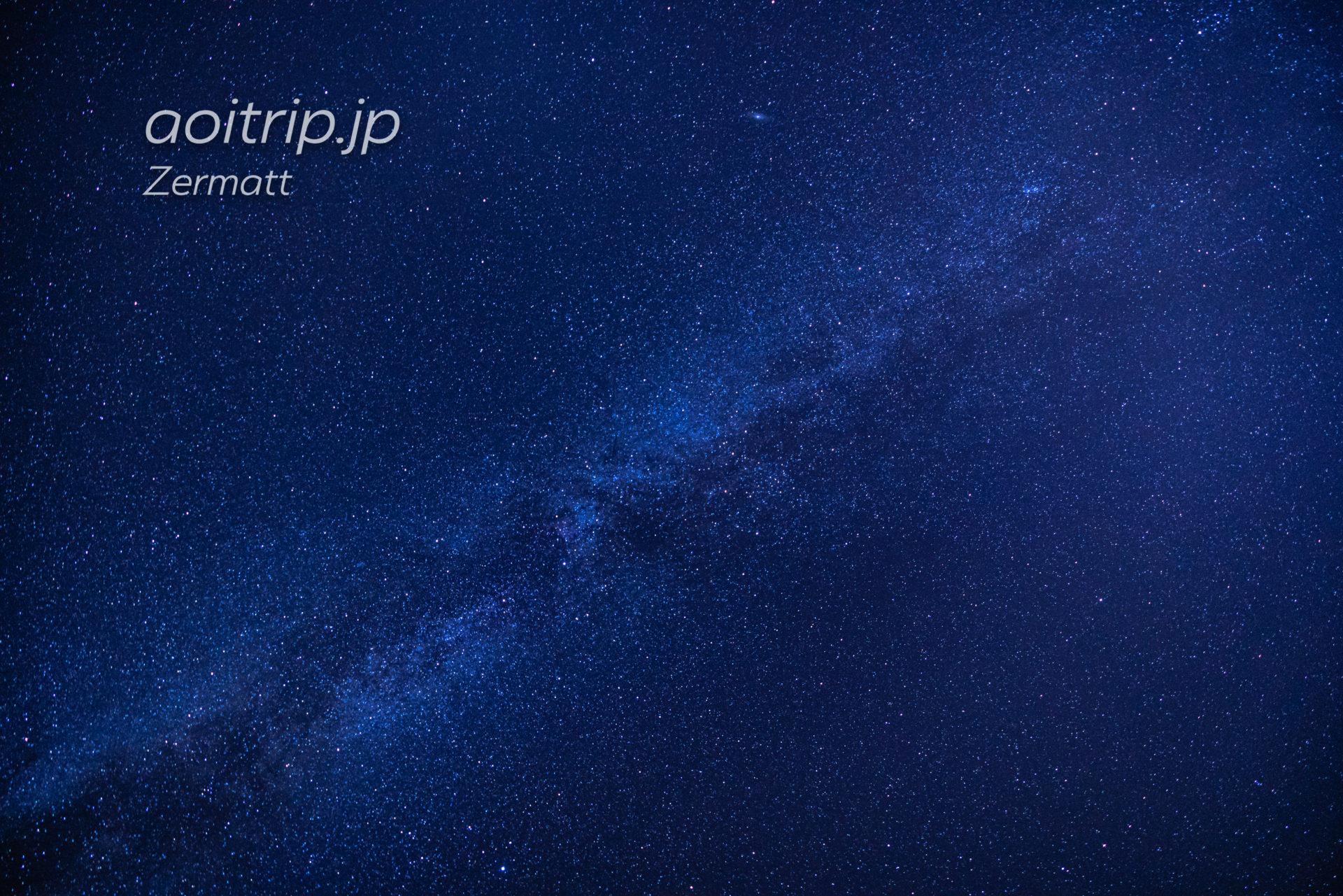 ツェルマットで撮影した星空とマッターホルン