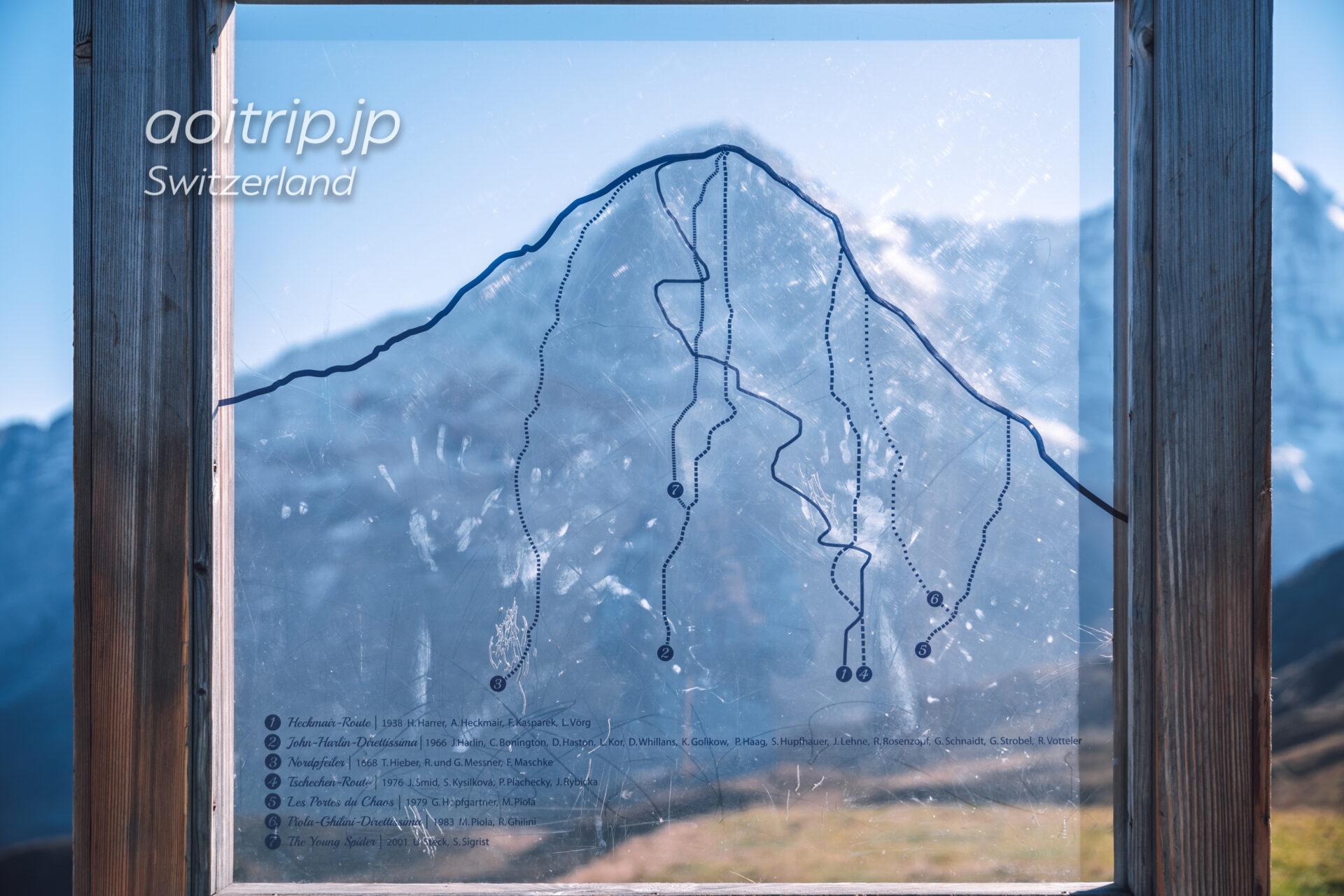 アイガー北壁の登山ルート