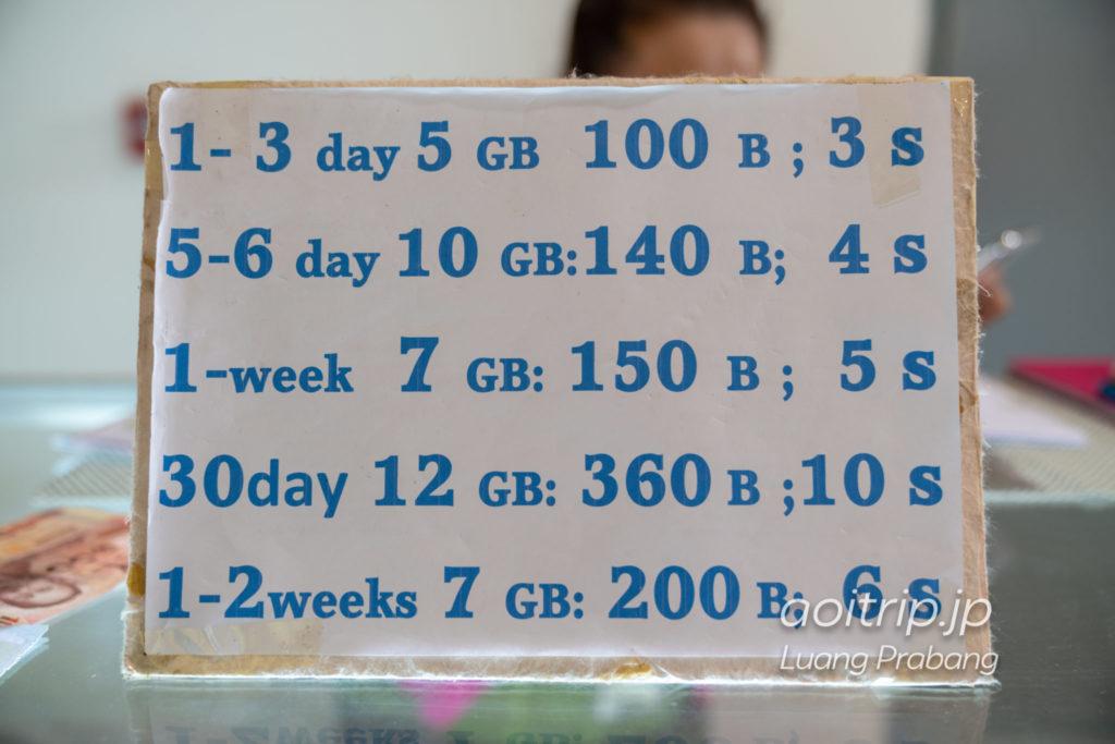 ルアンパバーン国際空港の「Lao Telecom」SIMカード料金