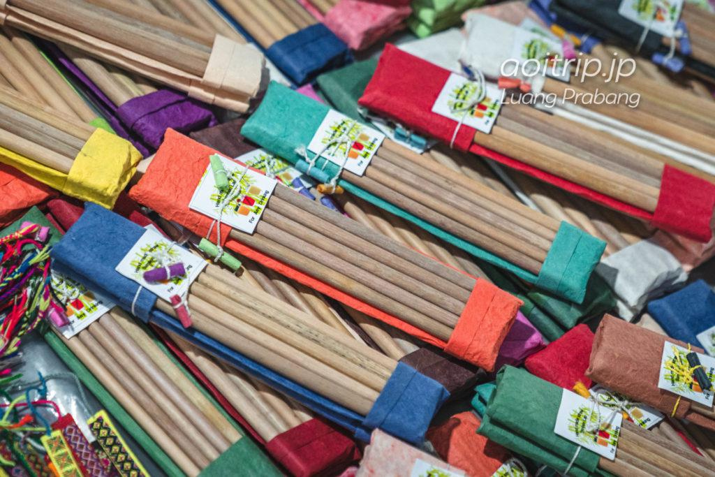 ルアンパバーンのナイトマーケット 竹製のストロー