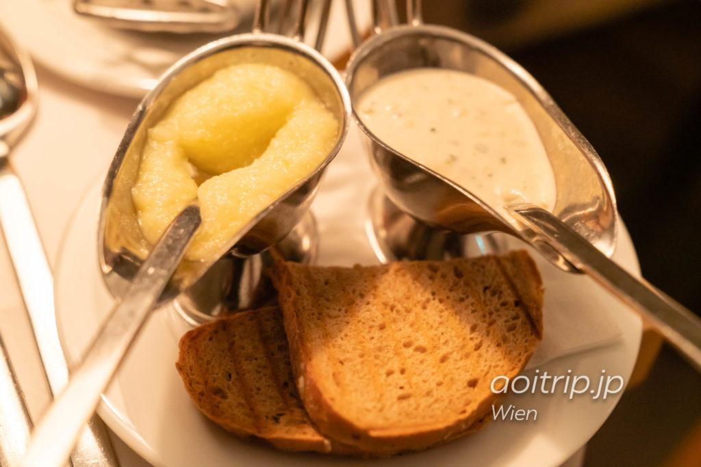 プラフッタ ガストハウス ツァ オーパーのターフェルシュピッツのソース(西洋ワサビ、タルタルソース)