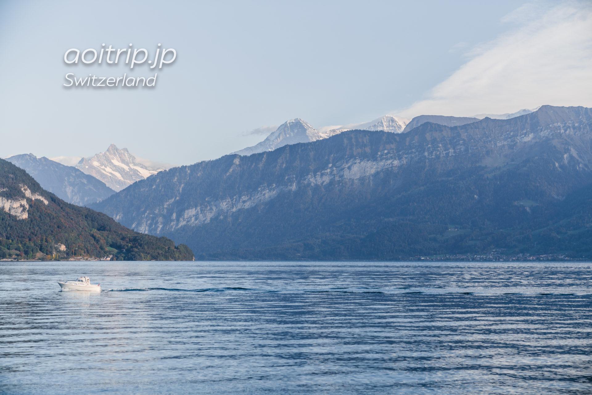 トゥーン湖のクルーズ(遊覧船)から望むアイガーとメンヒ