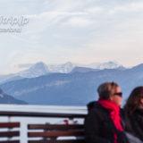 トゥーン湖の遊覧船から望むユングフラウ三山(アイガー、メンヒ、ユングフラウ)