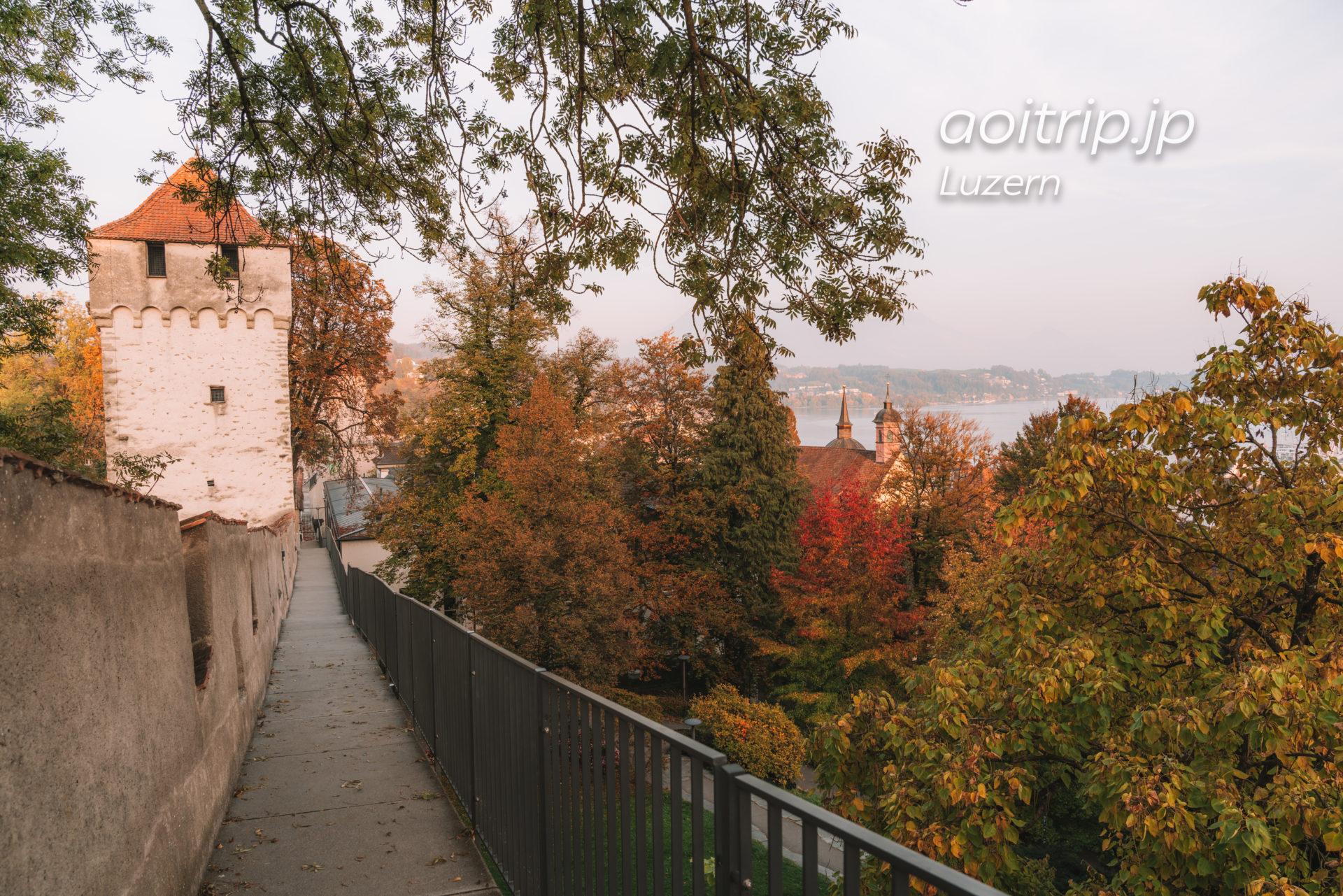 ルツェルンのムーゼック城壁 AllenwindenturmとPulverturm
