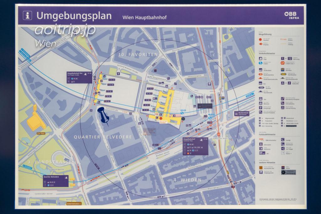 ウィーン中央駅の駅構内マップ