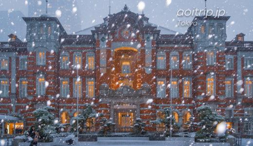 雪の舞う東京駅丸の内駅舎の写真