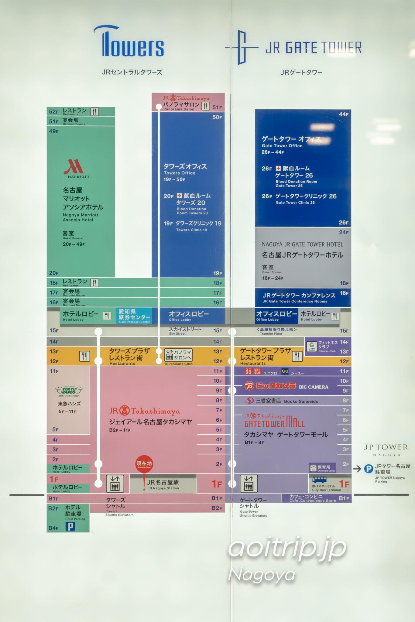 名古屋マリオットアソシアホテルの行き方・アクセス(JRセントラルタワーズとJRゲートタワーのフロアマップ)