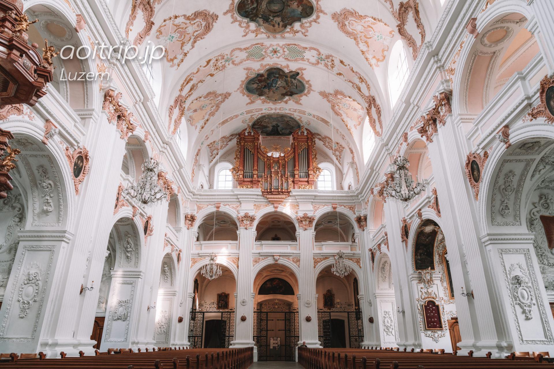 スイス ルツェルンのイエズス会教会(Jesuitenkirche)の内部